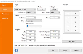 Configurar layout tarjeta
