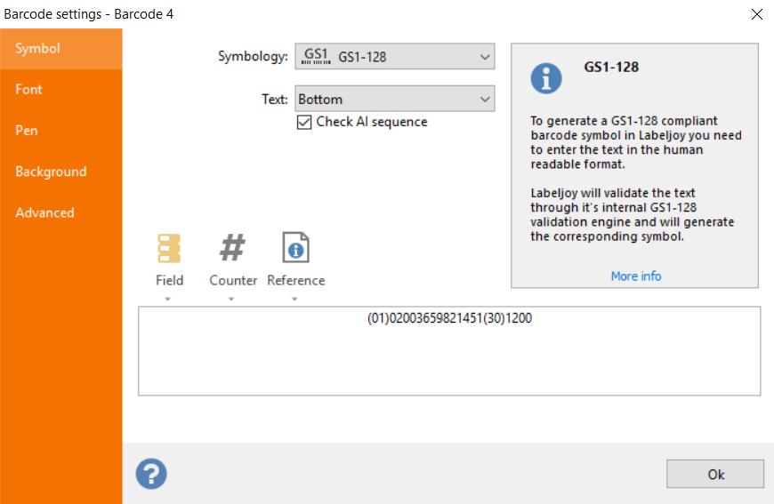 GS1 128 configuration de code à barres