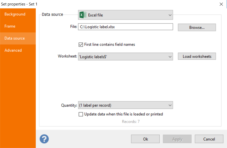 Excel file import configuration