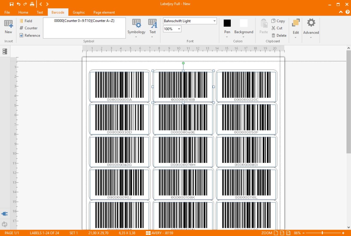 Alphanumeric barcodes