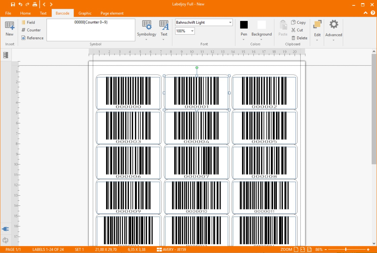 Barcode generated with incremental counter