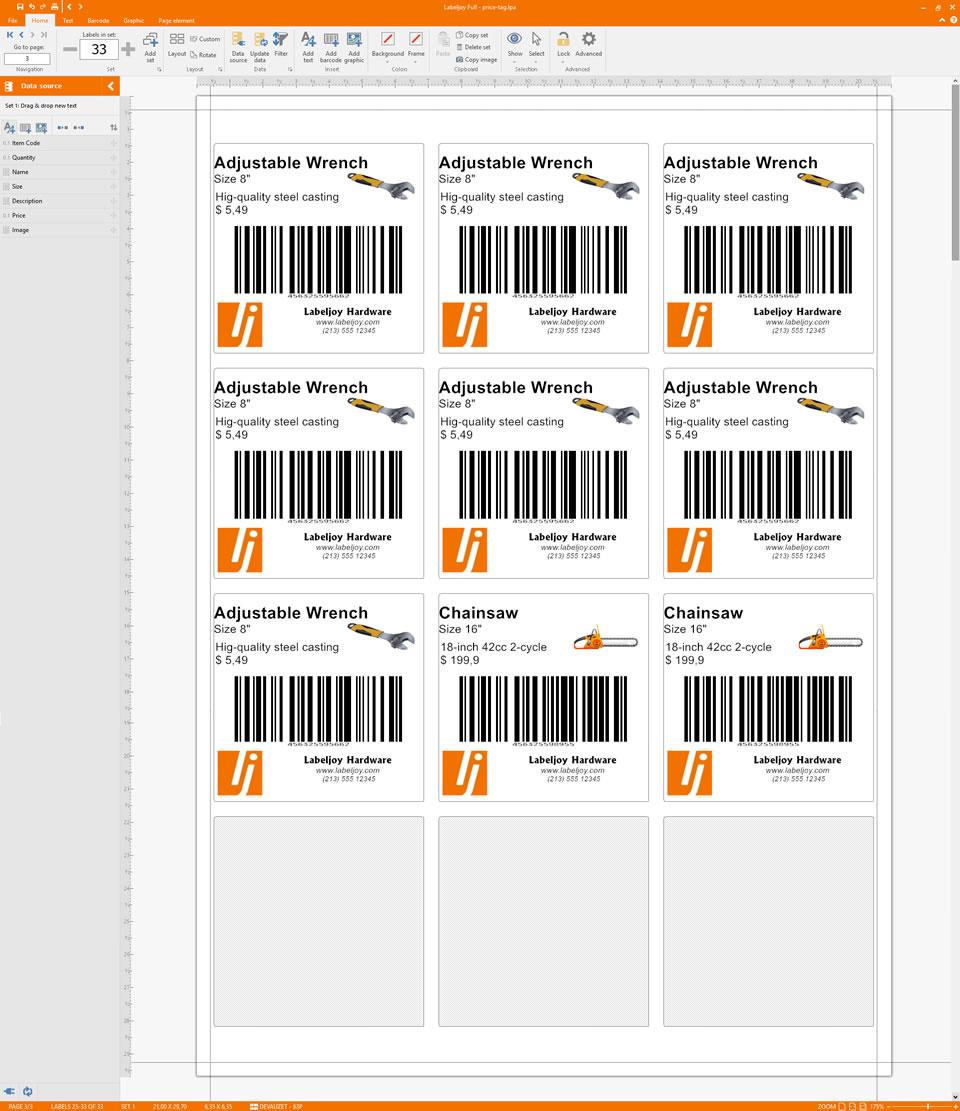 étiquettes prix code-barres