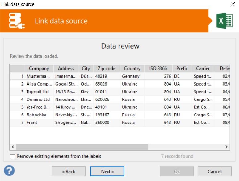 Voorbeeld data vanuit Excel