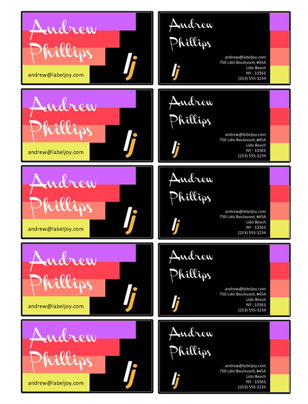 Tarjetas De Visita 171 Labeljoy Software De Impresi 243 N De