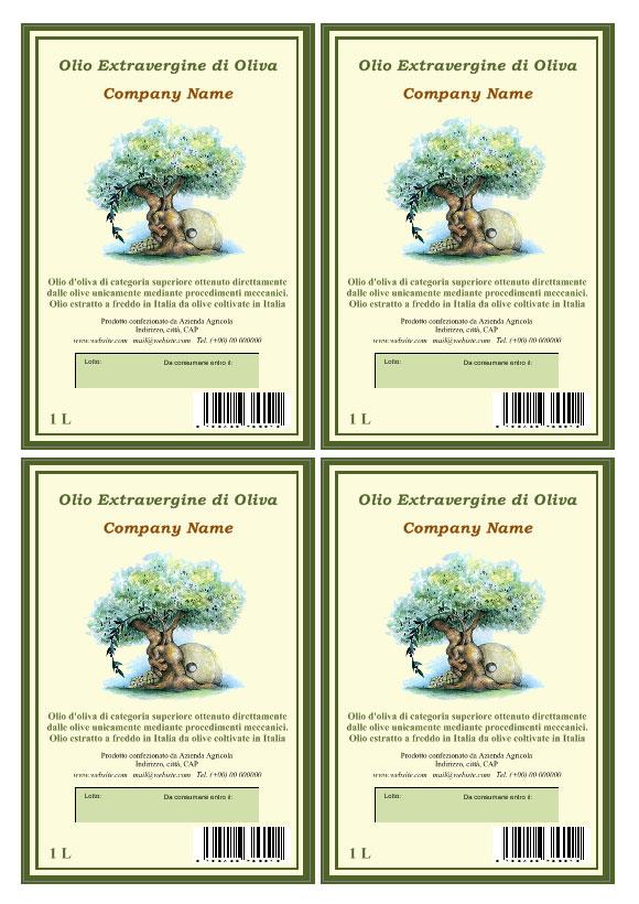 etichette olio da stampare