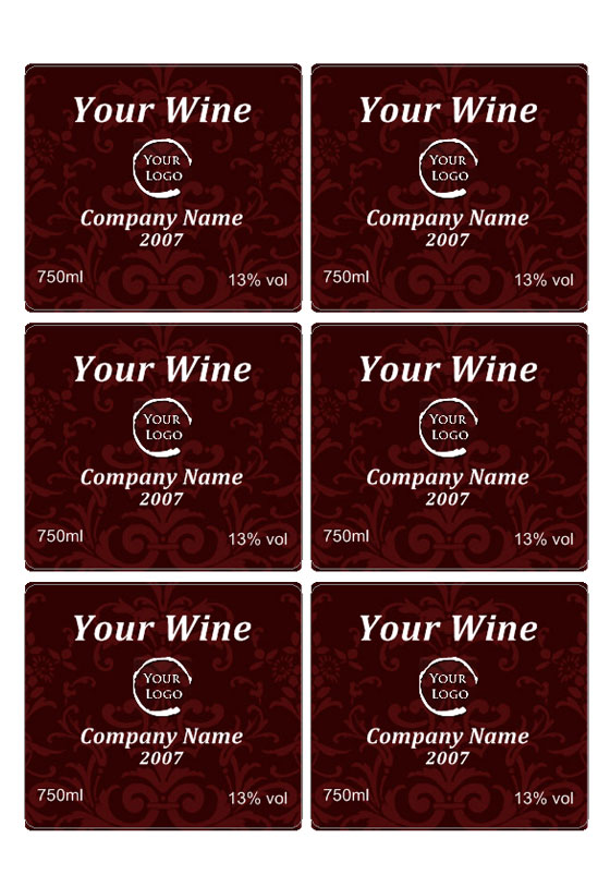 Custom Wine Labels  Free Wine Label Template