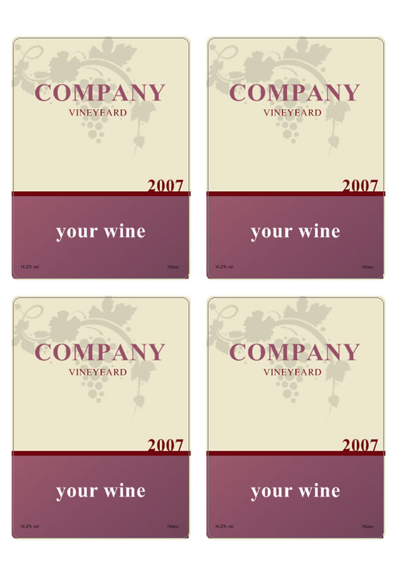 wine label template personilize your own wine labels. Black Bedroom Furniture Sets. Home Design Ideas