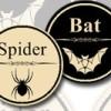 Spider and bat Halloween stickers