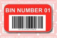 Etichetta rossa con barcode