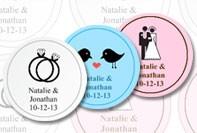 Ronde labels voor een huwelijk